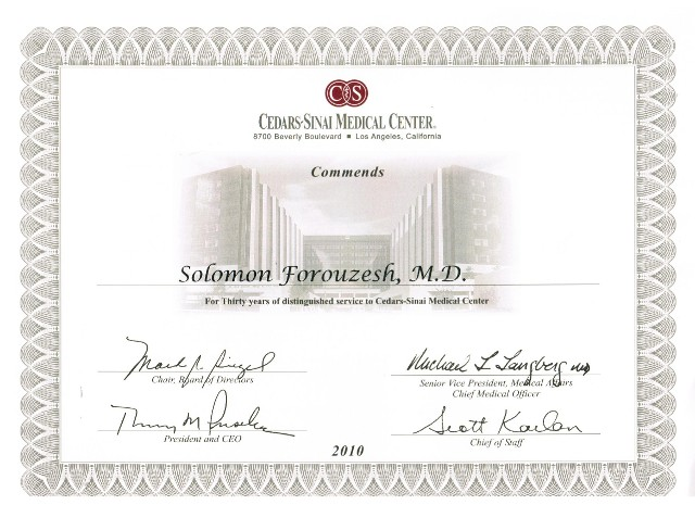 This is a photo of Doctor Solomon Forouzesh's commendation from Cedars Sinai.